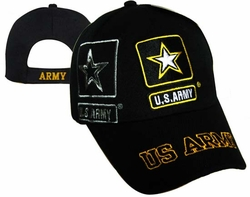 Wholesale Headwear, Military Hats, Army Hats, Wholesale Hats, Men's Hats, Military Hats - CAP601V Army Logo shadow US Army Bill Cap