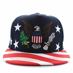 Patriotic Apparel T Shirts Wholesale Hats Caps Embroidered Baseball Logo Supplier Bulk - USA Eagle Cotton Snapback Cap (Navy & Red) - SM574-01