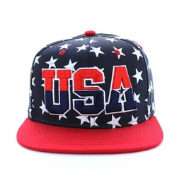 USA Apparel T Shirts Wholesale Hats Caps Embroidered Baseball Logo Supplier Bulk - USA Star Snapback (Navy & Red) - SM369-01