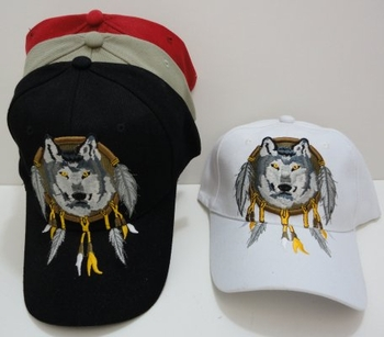 Wholesale T Shirts, Wholesale Hats, Wholesale Apparel Bulk Cheap Discount Baseball Caps T Shirts Clothing - Wholesale Bulk - HT417. Wolf Head Hat [Hanging Feathers]