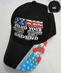 Gun Hats, Apparel, Wholesale, Bulk - HT104. AMERICA STAND YOUR GROUND Hat