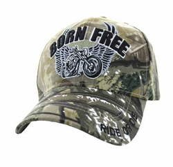 Wholesale Clothing Men's Fashion Hats Embroidered Logo - Born Free Velcro Cap (Solid Hunting Camo) - VM482
