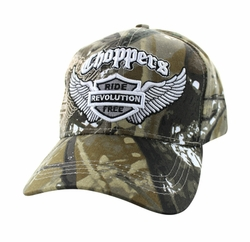 Wholesale Biker Hats and Caps in Bulk - Choppers Ride Revolution Free Velcro Cap (Solid Hunting Camo) - VM082