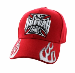 Wholesale Biker Hats and Caps in Bulk - No Fear Ride Hard Velcro Cap (Solid Red) - VM013