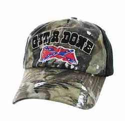 Wholesale Bulk Clothing Headwear Hats Embroidery Designs - Git R Done Rebel Buckle Cap (Hunting Camo & Black) - BM676-02