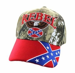 Wholesale Bulk Clothing Headwear Hats Embroidery Designs - Rebel Flag Eagle Velcro Cap (Hunting Camo & Red) - VM625-04