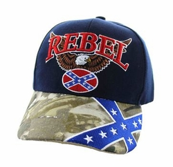 Wholesale Bulk Clothing Headwear Hats Embroidery Designs - Rebel Flag Eagle Velcro Cap (Navy & Hunting Camo) - VM625-03