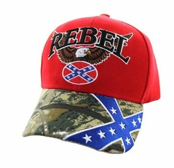 Wholesale Bulk Clothing Headwear Hats Embroidery Designs - Rebel Flag Eagle Velcro Cap (Red & Hunting Camo) - VM625-02
