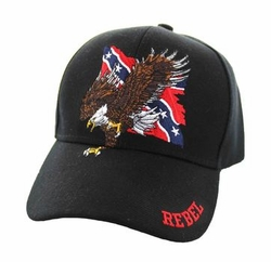 Wholesale Bulk Clothing Headwear Hats Embroidery Designs - Rebel Flag Eagle Velcro Cap (Solid Black) - VM516-10