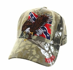Wholesale Bulk Clothing Headwear Hats Embroidery Designs - Rebel Flag Eagle Velcro Cap (Solid Hunting Camo) - VM516-13