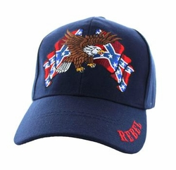 Wholesale Bulk Clothing Headwear Hats Embroidery Designs - Rebel Flag Eagle Velcro Cap (Solid Navy) - VM444-05
