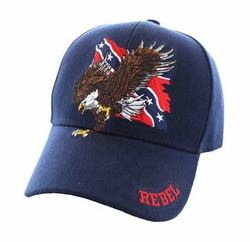 Wholesale Bulk Clothing Headwear Hats Embroidery Designs - Rebel Flag Eagle Velcro Cap (Solid Navy) - VM516-12