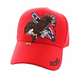 Wholesale Bulk Clothing Headwear Hats Embroidery Designs - Rebel Flag Eagle Velcro Cap (Solid Red) - VM516-11