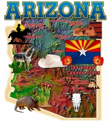 Wholesale Arizona Map T Shirts in Bulk, Wholesale Clothing and Apparel - MSC Distributors