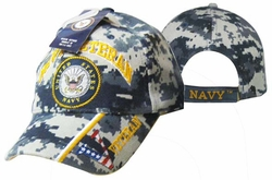 Caps Hats Wholesale Clothing, Military Hats Wholesale Bulk Supplier - CAP592BC Navy Vet & Emblem Cap Camo