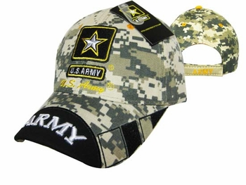 Wholesale Bulk Mens Hats and Caps Bulk Suppliers Wholesale Patriotic - CAP601UC Army Logo Army on Bill Cap Camo