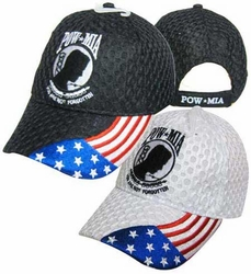 Wholesale Clothing, Pow Mia Apparel Military Wholesale T Shirts Embroidered Logo Baseball Hats Caps Bulk Suppliers - CAP604C Pow-Mia Flag Mesh Cap