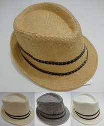 Wholesale Fashion Hats HT831. Fedora Hat- Woven with Leather-Like Hat Band