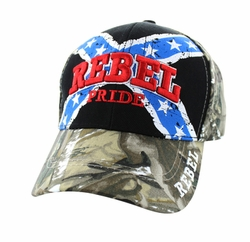 Wholesale Bulk Headwear Suppliers - Rebel Pride Velcro Cap (Black & Hunting Camo) - VM061-01