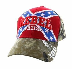 Wholesale Bulk Headwear Suppliers - Rebel Pride Velcro Cap (Red & Hunting Camo) - VM061-03