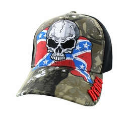 Wholesale Bulk Headwear Suppliers - Rebel Skull Velcro Cap (Hunting Camo & Black) - VM100-03