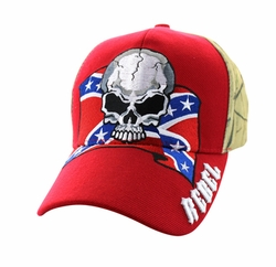 Wholesale Bulk Headwear Suppliers - Rebel Skull Velcro Cap (Red & Hunting Camo) - VM100-02