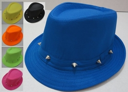 Wholesale Fashion Hats - HT819. Neon Black Fedora Hat with Studs