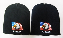 Wholesale Bulk Mens Hats and Caps Suppliers Printed - WIN677 Eagle Flag Beanie