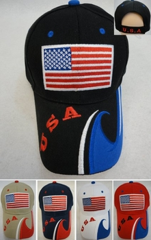 Flag Baseball Caps Hats Wholesale Bulk Suppliers - HT561. ...USA Flag Hat [USA Wave on Bill]
