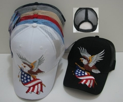 Wholesale Military Patriotic Hats and Caps Suppliers - HT248. Eagle with Flag-Mesh Back Ball Cap