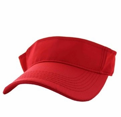 Wholesale Caps and Hats in Bulk - Solid Visor Hat (Red) - VP023