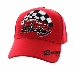 Racing Apparel T Shirts Wholesale Hats Caps Embroidered Baseball Logo Supplier Bulk - Racing Velcro Cap (Solid Red) - VM448-04