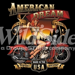 T Shirts Hats Wholesale Bulk Supplier Clothing Apparel Biker - 14999-13x14-american-dream-babe-made-usa-milwaukee-wisconsin