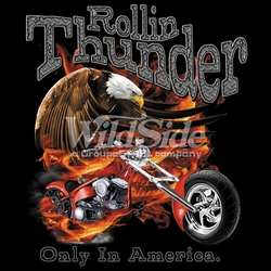 Wholesale Clothing Biker Motorcycle T Shirts Hats Products Men's Women's Bulk Suppliers Online Buy Shop - 16196-12x14-rollin-thunder-only-america-eagleflamechopper