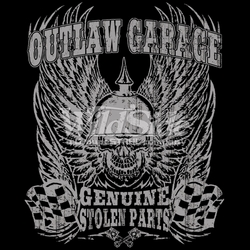 T Shirts Hats Wholesale Bulk Supplier Clothing Apparel Biker - 17332-14x17-outlaw-garage-genuine-stolen-parts-skullwith-wings-