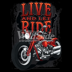Wholesale Clothing Biker Motorcycle T Shirts Hats Products Men's Women's Bulk Suppliers Online Buy Shop - 17444-10x14-live-and-let-ride-red-motorcycle