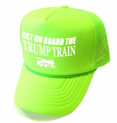 Wholesale Clothing, Wholesale Hats - Get On Board the Trump Train Mesh Caps - Neon Green