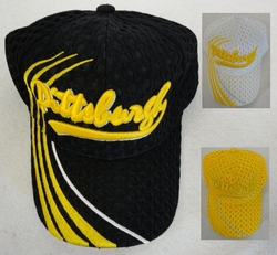 Wholesale Clothing, Wholesale Men's Hats - HT565. Air Mesh Pittsburgh Hat [3 Stripes on Bill]
