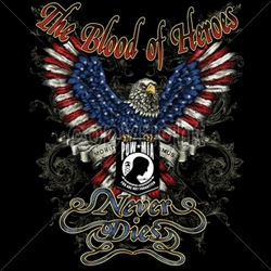 T Shirts Wholesalers, Wholesale Patriotic Shirts - Blood-heroes-never-dies-pow-mia T Shirts Bulk - 13640-14x17