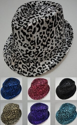 Wholesale Fashion Hats - HT315. Fedora Hat--Sequins with Animal Print