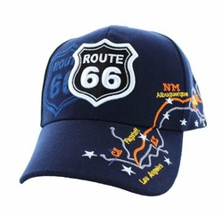 Wholesale Embroidered Logo Fashion Baseball Caps Hats - Route 66 Map Velcro Cap (Solid Navy) - VM169-05