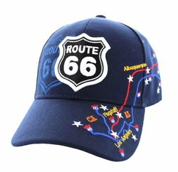 Wholesale Embroidered Logo Fashion Baseball Caps Hats - Route 66 Map Velcro Cap (Solid Navy) - VM214-02