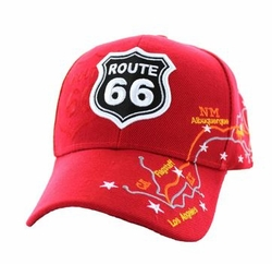 Wholesale Embroidered Logo Fashion Baseball Caps Hats - Route 66 Map Velcro Cap (Solid Red) - VM169-03