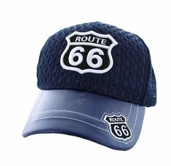 Wholesale Embroidered Logo Fashion Baseball Caps Hats - Route 66 Mesh Velcro Cap (Solid Navy) - VM499-01