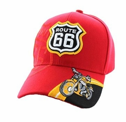 Wholesale Embroidered Logo Fashion Baseball Caps Hats - Route 66 Motor Velcro Cap (Solid Red) - VM070-04