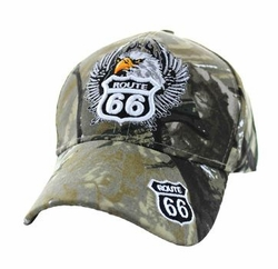 Wholesale Embroidered Logo Fashion Baseball Caps Hats - Route 66 Road Eagle Velcro Cap (Solid Hunting Camo) - VM199-22