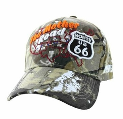 Wholesale Embroidered Logo Fashion Baseball Caps Hats - Route 66 Road Front Map Velcro Cap (Solid Hunting Camo) - VM397-15