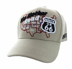 Wholesale Embroidered Logo Fashion Baseball Caps Hats - Route 66 Road Front Map Velcro Cap (Solid Khaki) - VM397-13