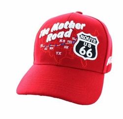 Wholesale Embroidered Logo Fashion Baseball Caps Hats - Route 66 Road Front Map Velcro Cap (Solid Red) - VM397-14