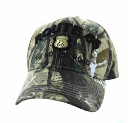 Wholesale Embroidered Logo Fashion Baseball Caps Hats - Route 66 Road Gold Metal Velcro Cap (Solid Hunting Camo) - VM223-02